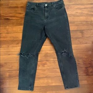 ASOS high waisted jeans with blown out knees